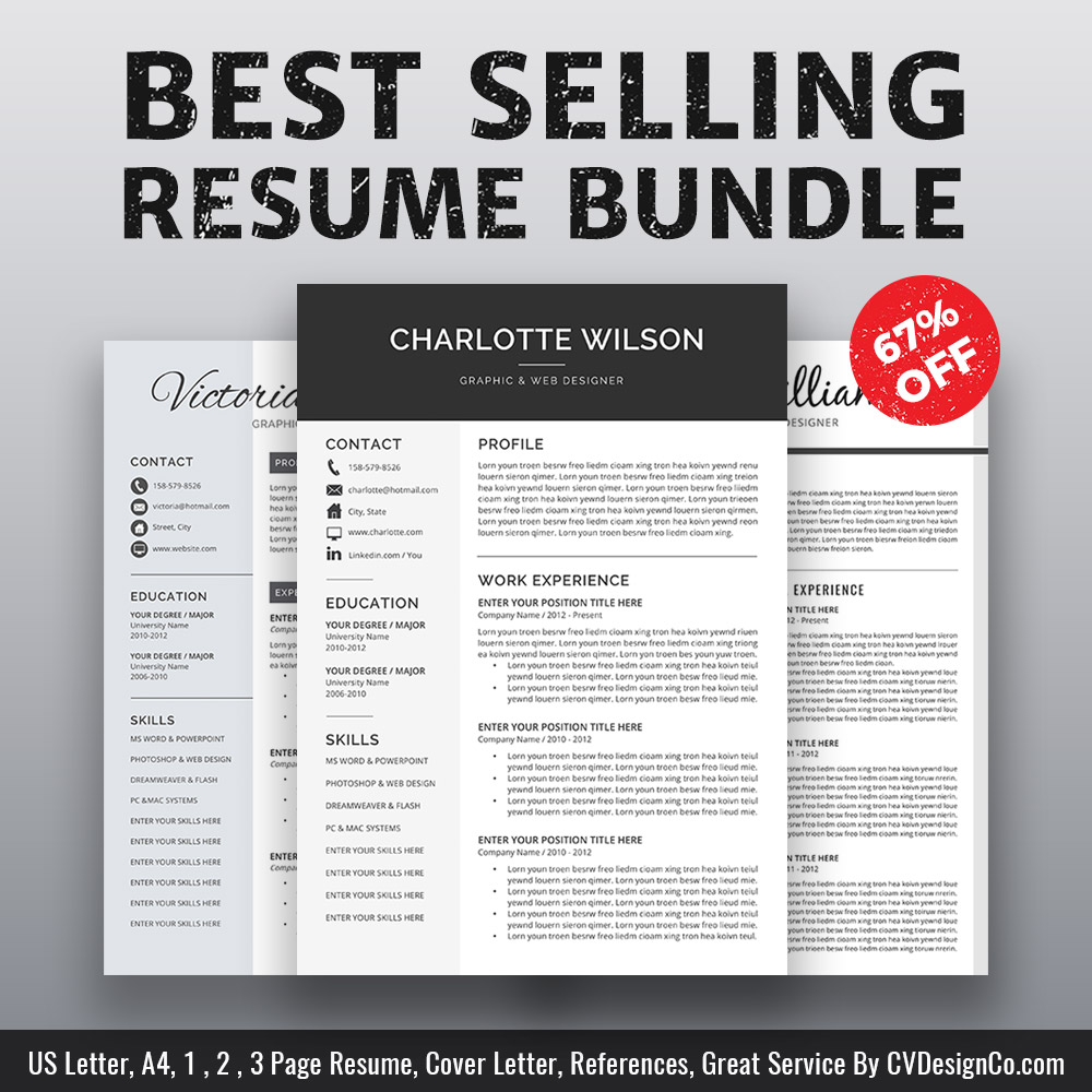 Best Selling MS Office Word Resume / CV Bundle The Charlotte: Resume  Templates, CV Templates, Cover Letter, References For Unlimited Digital  Download