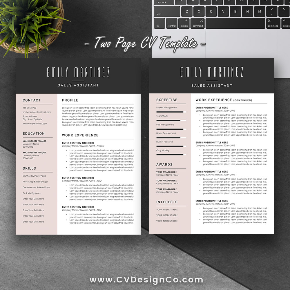 ... Professional Elegant Resume Template, Most Popular Resume, Cover  Letter, Instant Download: The Emily ...