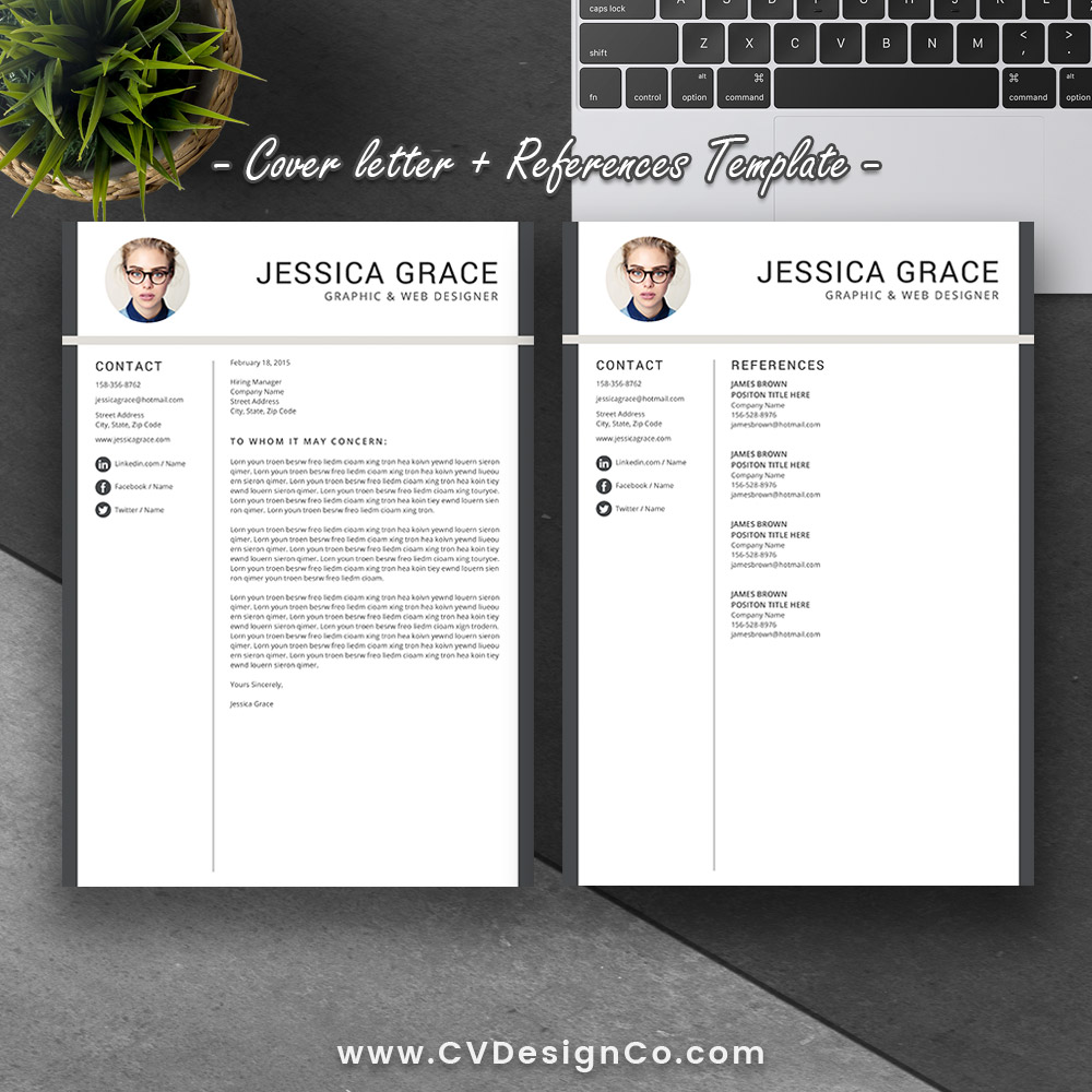 2 modern resume cv template cover letter design for word instant digital download upcvup