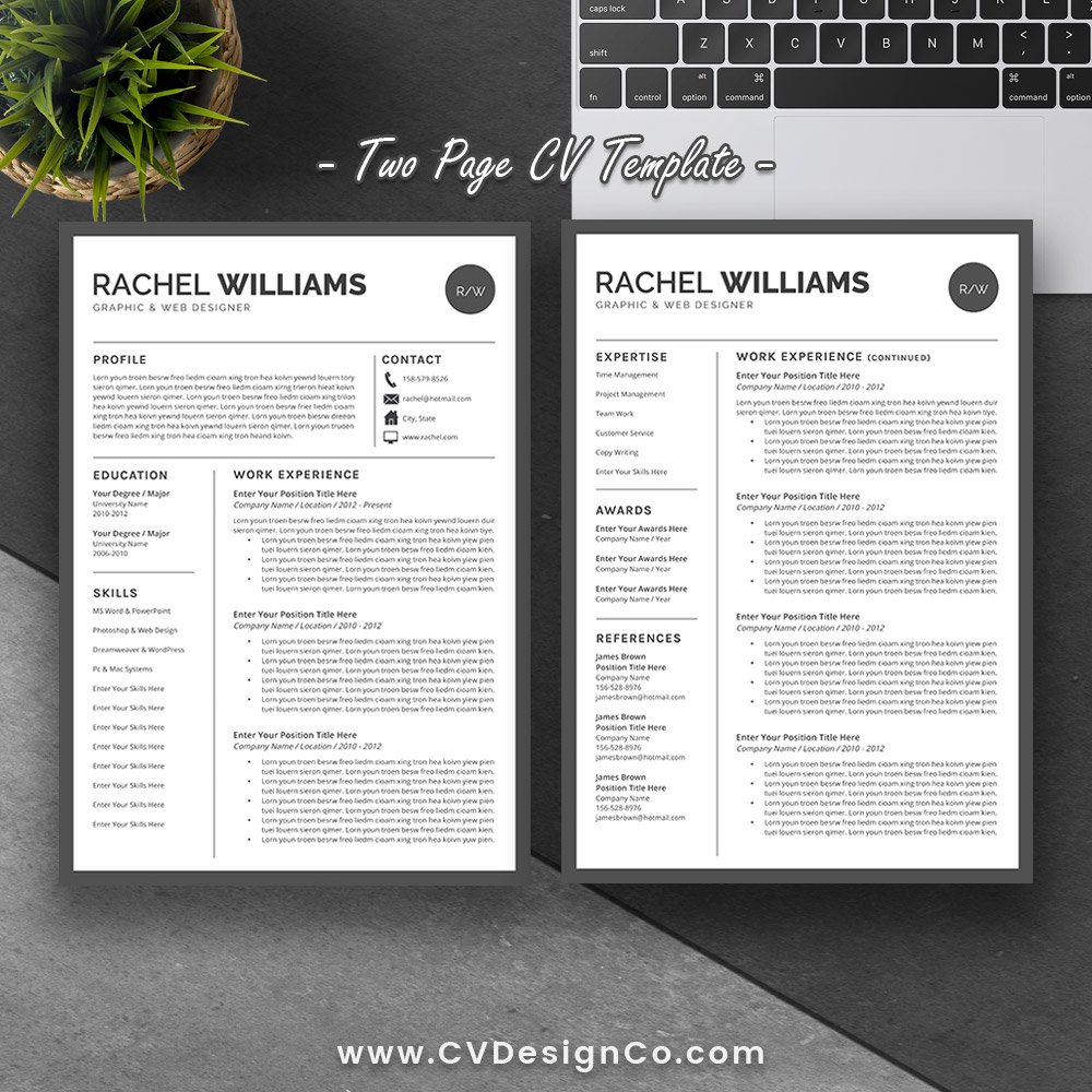 Best Selling Office Word Resume / CV Templates, Cover Letter, References  For Digital Instant Download: The Rachel Resume