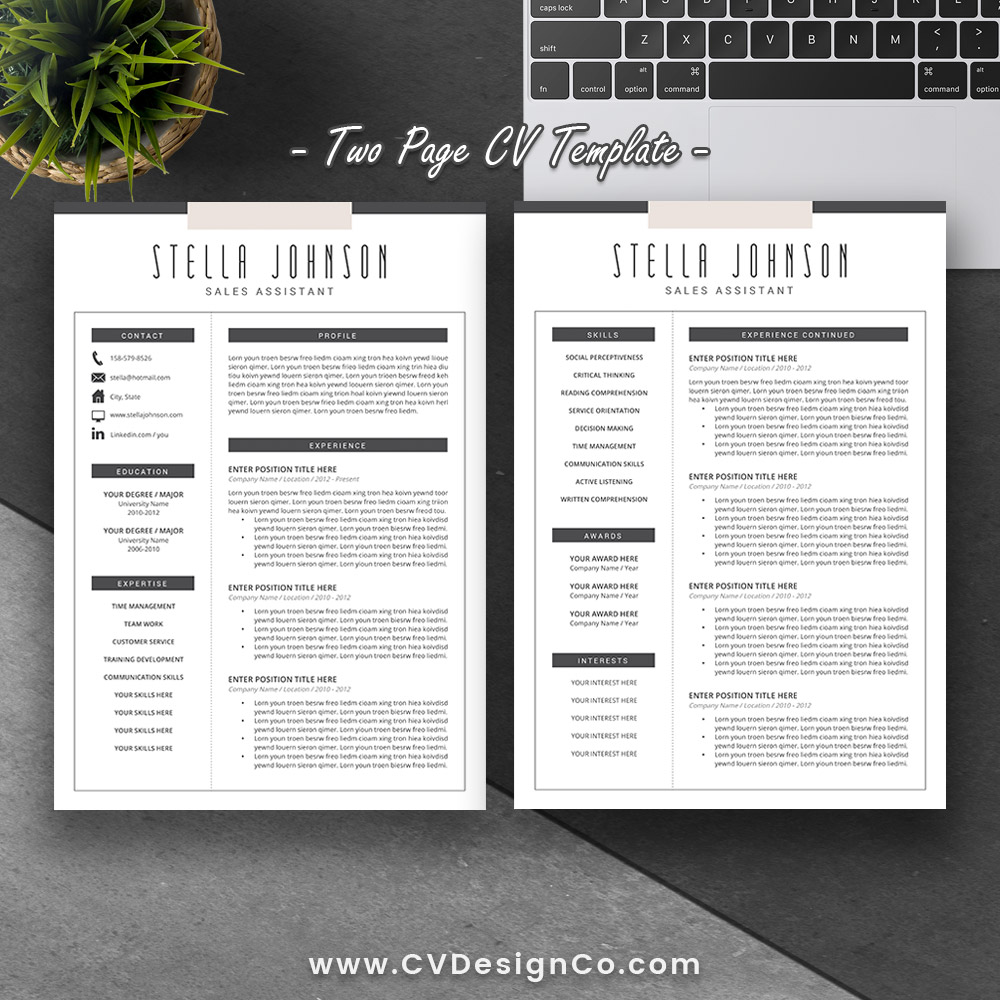 Best Selling Office Word Resume / CV Templates, Cover Letter, References  For Digital Instant Download: The Stella Resume