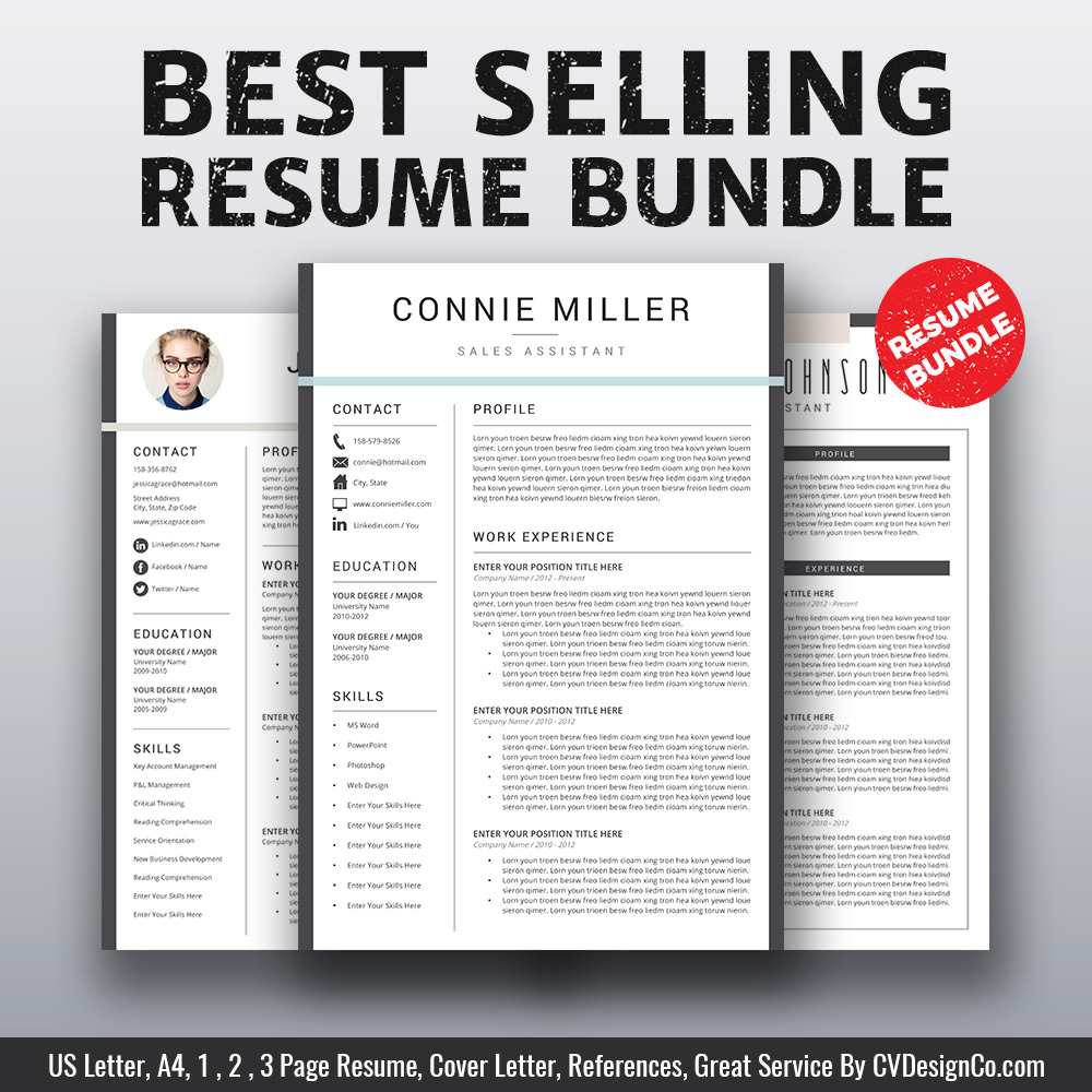 Best Selling MS Office Word Resume CV Bundle The Connie Templates Cover Letter References For Unlimited Digital Download