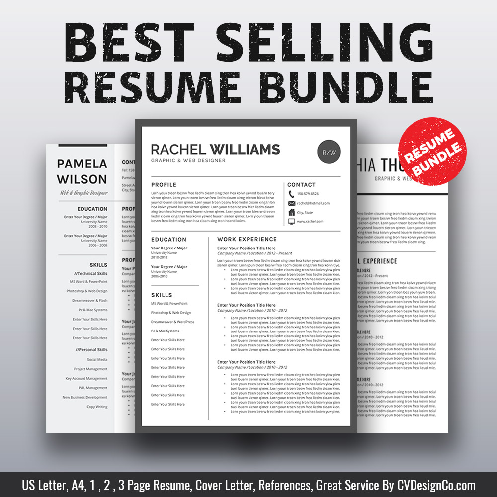 Best Resume Templates 2020.2020 Best Selling Ms Office Word Resume Cv Bundle The Rachel Resume Templates Cv Templates Cover Letter References For Unlimited Digital