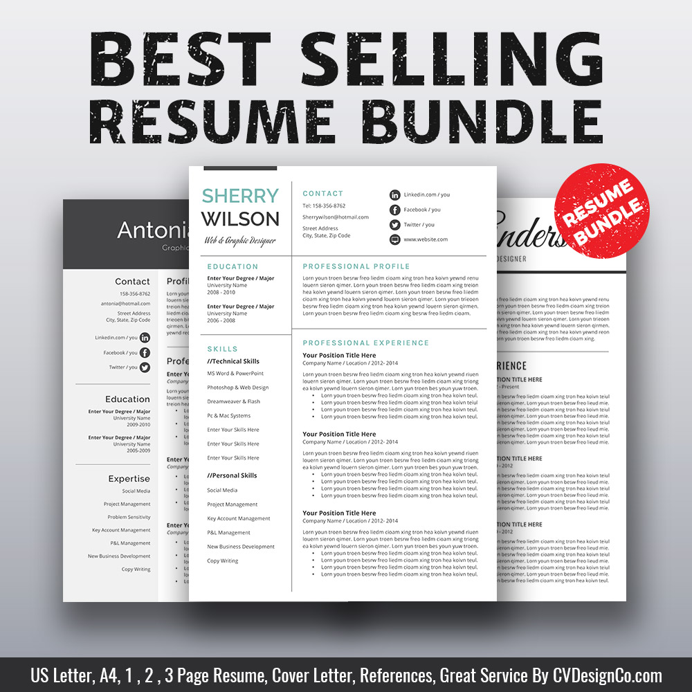 2019 Best Selling MS Office Word Resume CV Bundle The Sherry Templates Cover Letter References For Unlimited Digital Download