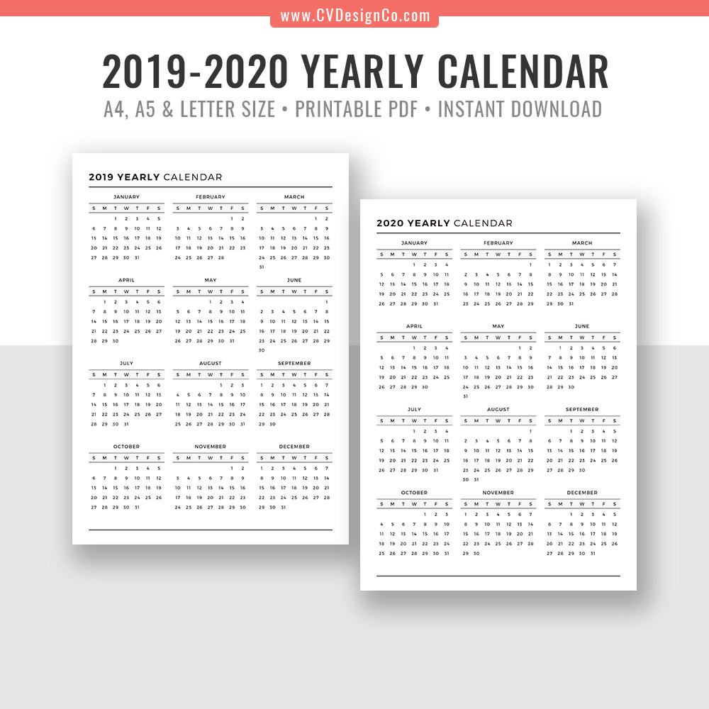 2020 Calendar 2019 Printable.2019 Yearly Calendar And 2020 Yearly Calendar 2019 2020