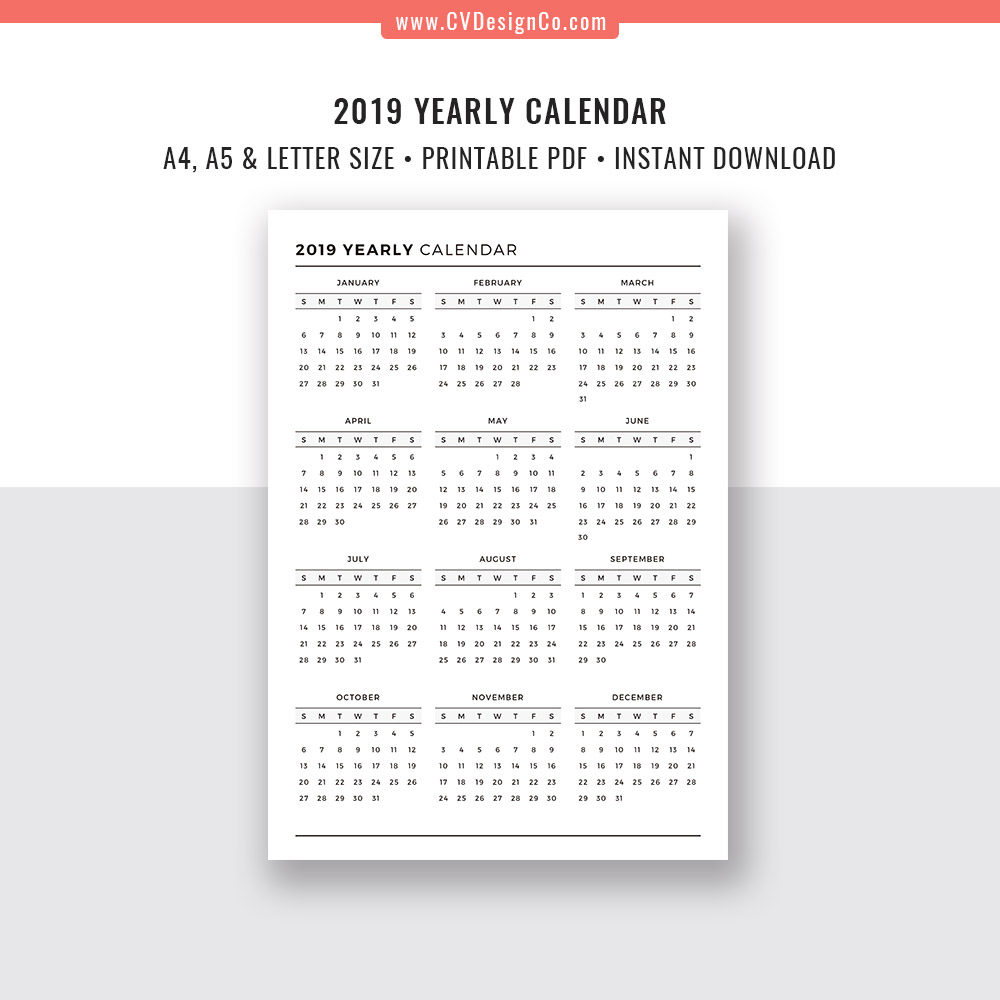 2019 Yearly Calendar and 2020 Yearly Calendar, 2019 - 2020 Yearly Calendar,  Digital Printable Planner Inserts  Filofax A5, A4, Letter Size