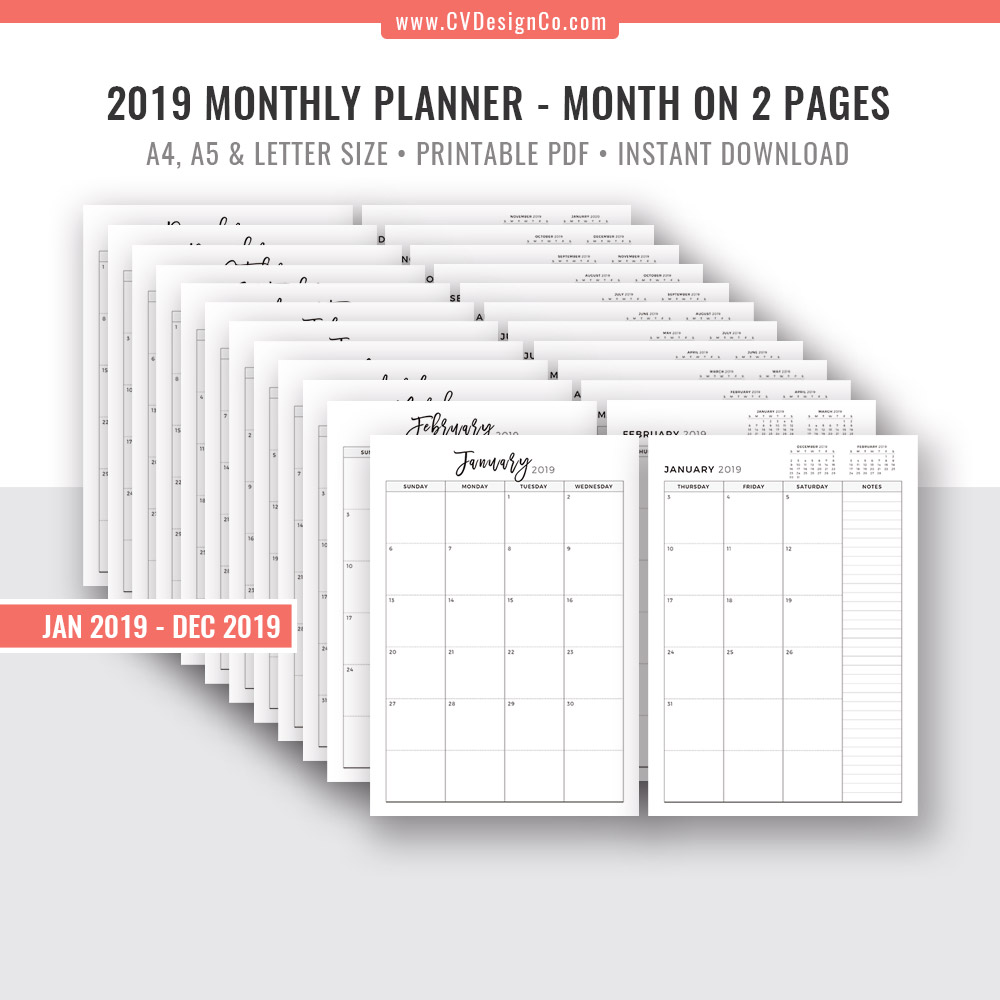 photograph relating to A5 Planner Printable called Printable Every month Planner 2019, Month-to-month Calendar, Regular monthly Organizer, Electronic Printable, Regular monthly Calendar, Filofax A5, A4, Letter Measurement