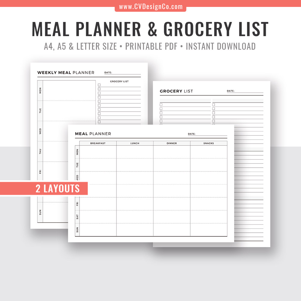 picture relating to Menu Plan Printable named Dinner Planner Printable, Menu Planner, Grocery Checklist, Purchasing Listing, Ideal Planner, Planner Inserts, Planner PDF, Refills, Filofax A5, A4, Letter Dimensions