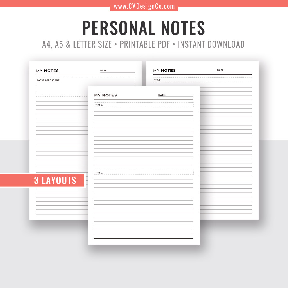 graphic about Notes Printable titled Notes Website page, Notes Planner, Laptop, Planner Refills, Planner Webpages, Printable Planner Inserts, Planner Template, Filofax A5, A4, Letter Measurement