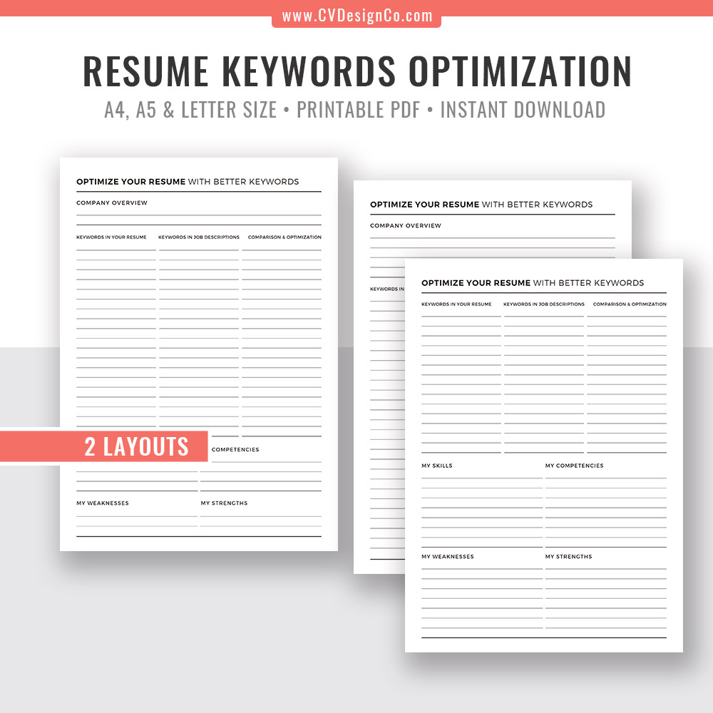 picture regarding Printable Planner titled Resume Keywords and phrases Optimization, Planner Template, Planner Inserts, Printable Planner, Planner PDF, Instantaneous Down load, Filofax A5, A4, Letter Sizing