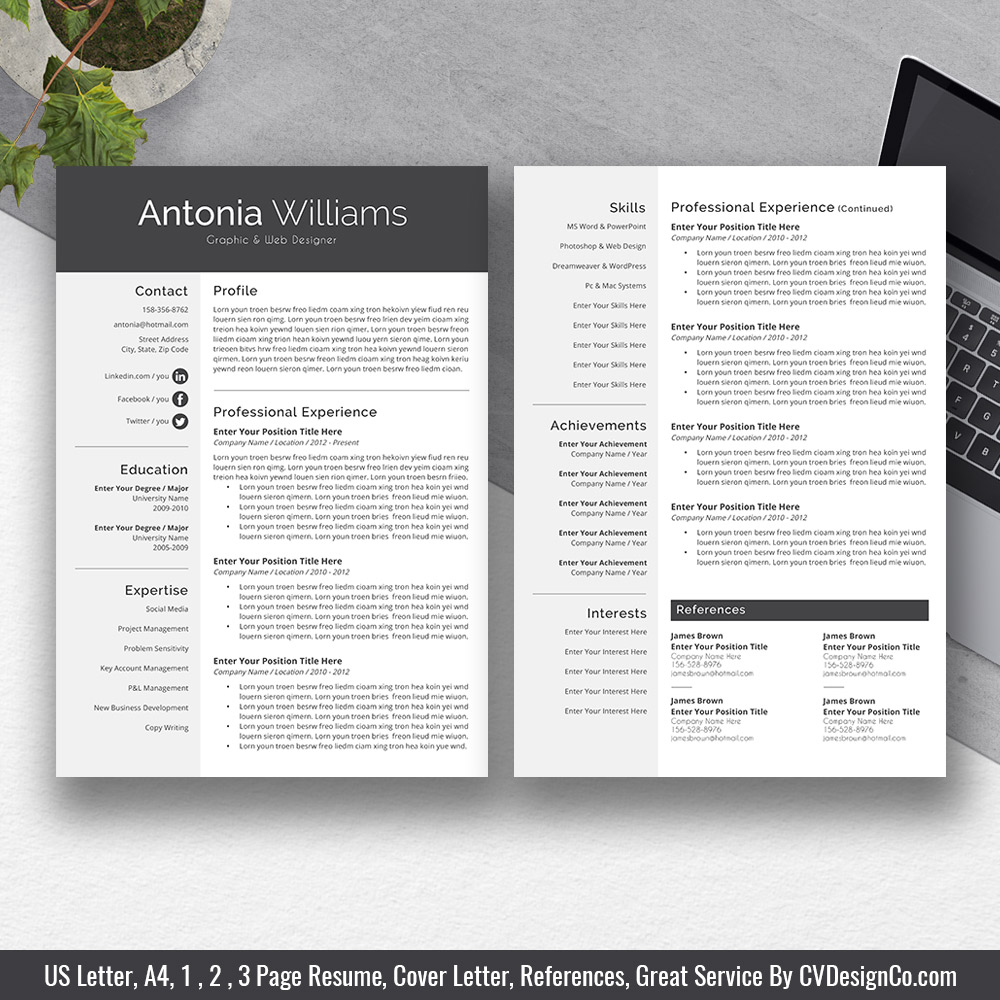 2019 best selling ms office word resume    cv bundle the sherry  resume templates  cv templates