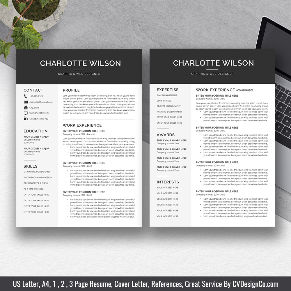 2019 best selling ms office word resume    cv bundle the charlotte  resume templates  cv