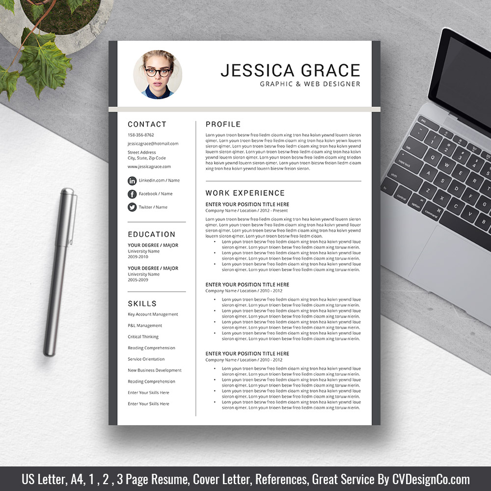 Most Popular Resume Template Modern Creative Design Cover Letter Word Mac And PC The Jessica