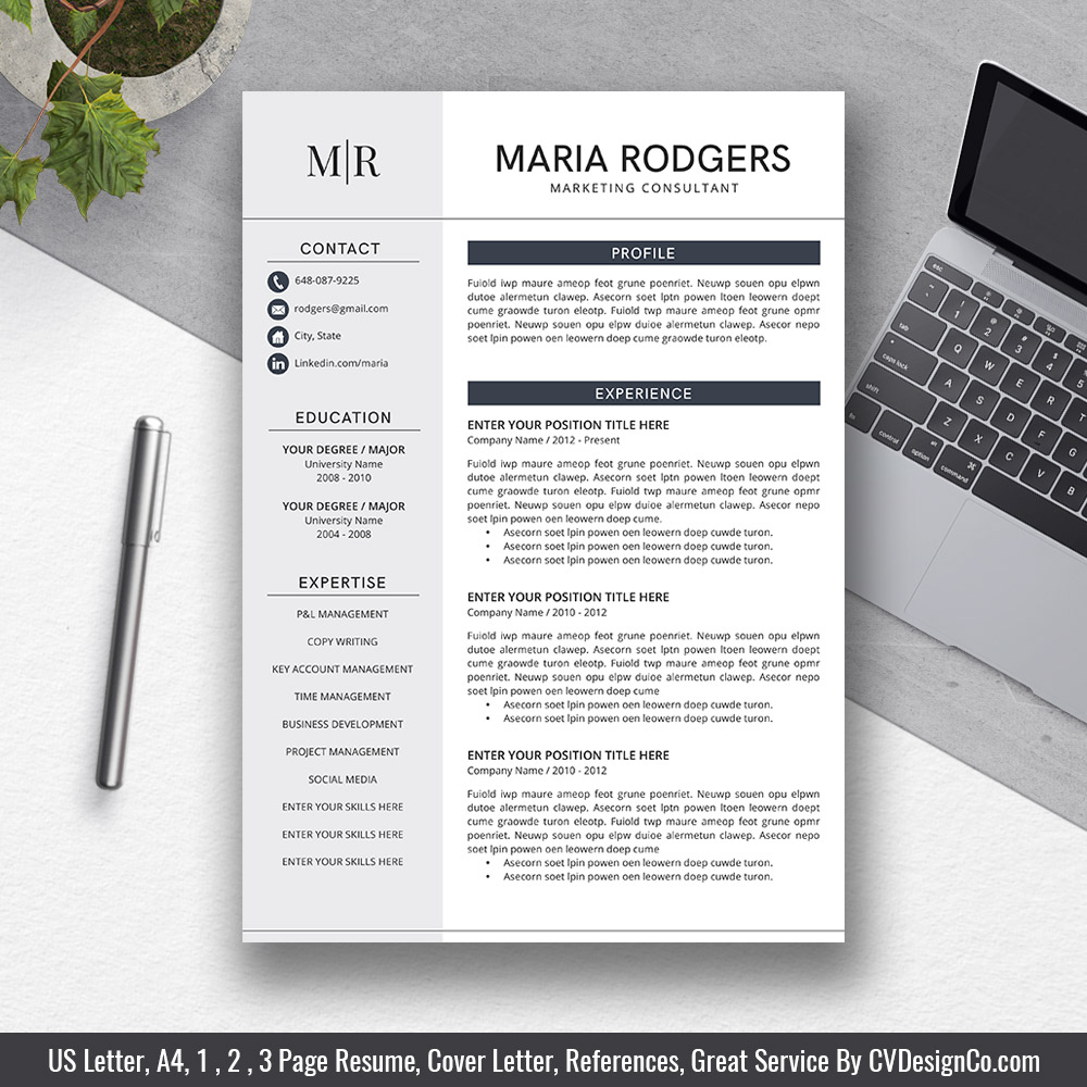 2019 Best Selling Office Word Resume Cv Templates Cover Letter References For Digital Instant Download The Maria Resume
