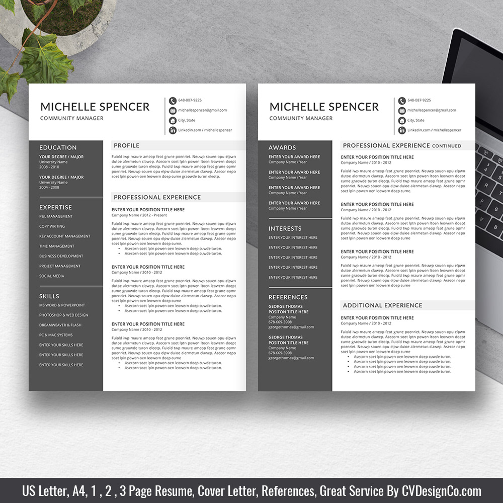 Best Resumes 2020.Best Selling Office Word Resume Cv Templates 2020 Cover Letter References For Digital Instant Download Professional Resume Modern Resume Design