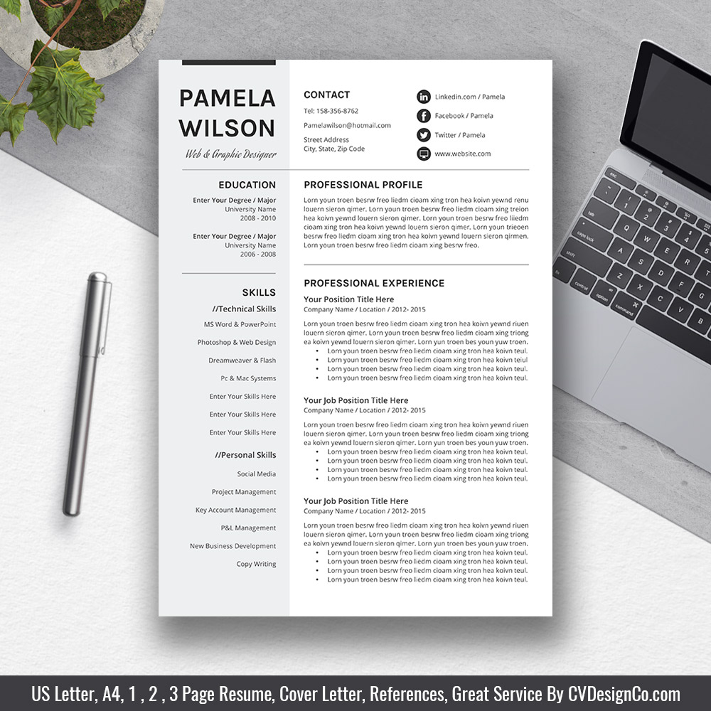 best selling ms office word resume    cv bundle the rachel