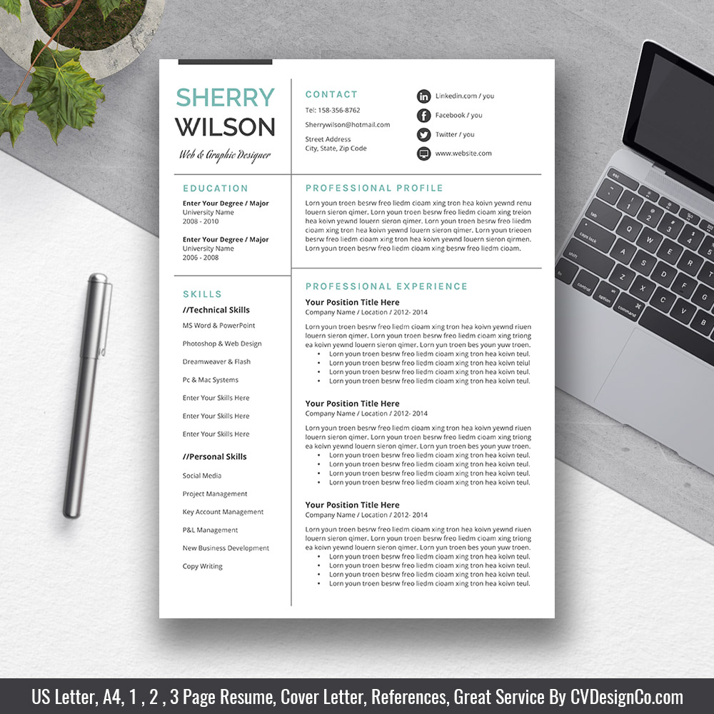Modern Clean Resume Template Most Popular CV Instant Download The Sherry