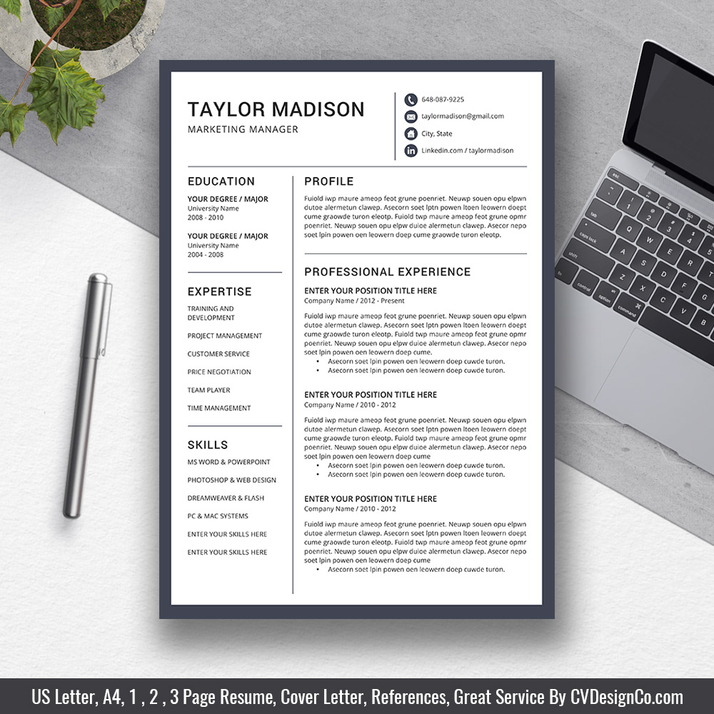 2019 best selling office word resume    cv templates  cover letter  references for digital