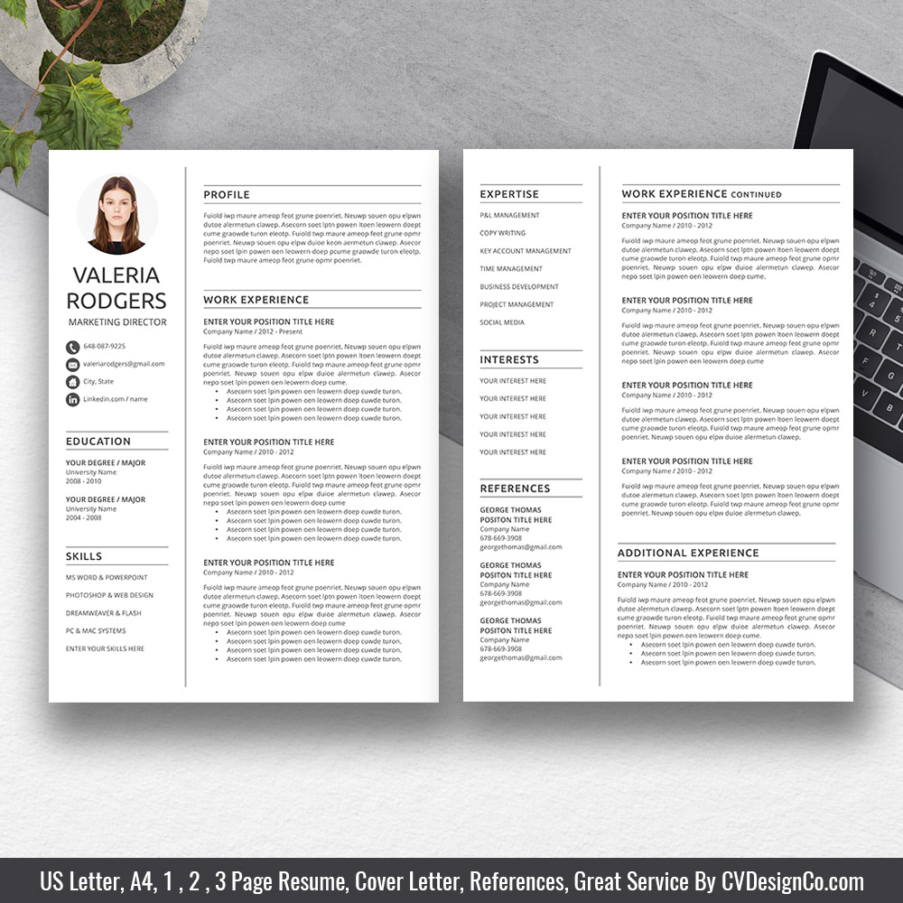 Best Selling Ms Office Word Resume Cv Bundle The Valeria Resume