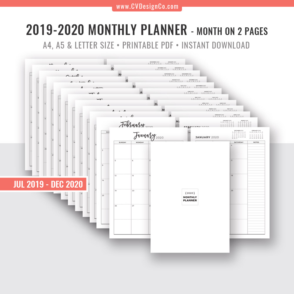 picture about Monthly Organizer identified as 2019 - 2020 Regular Planner, 18 Thirty day period Calendar, Month-to-month Organizer, Thirty day period Upon 2 Internet pages, Electronic Printable Planner, Filofax A5, A4, Letter Sizing