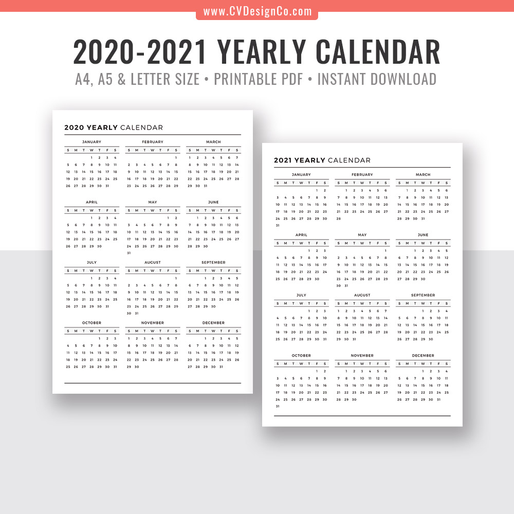graphic relating to Printable Planner Inserts identified as 2020 - 2021 On a yearly basis Calendar, Yr at a Search, Electronic Printable Planner Inserts, Sunday Start out, Black White, Filofax A5, A4, Letter Measurement